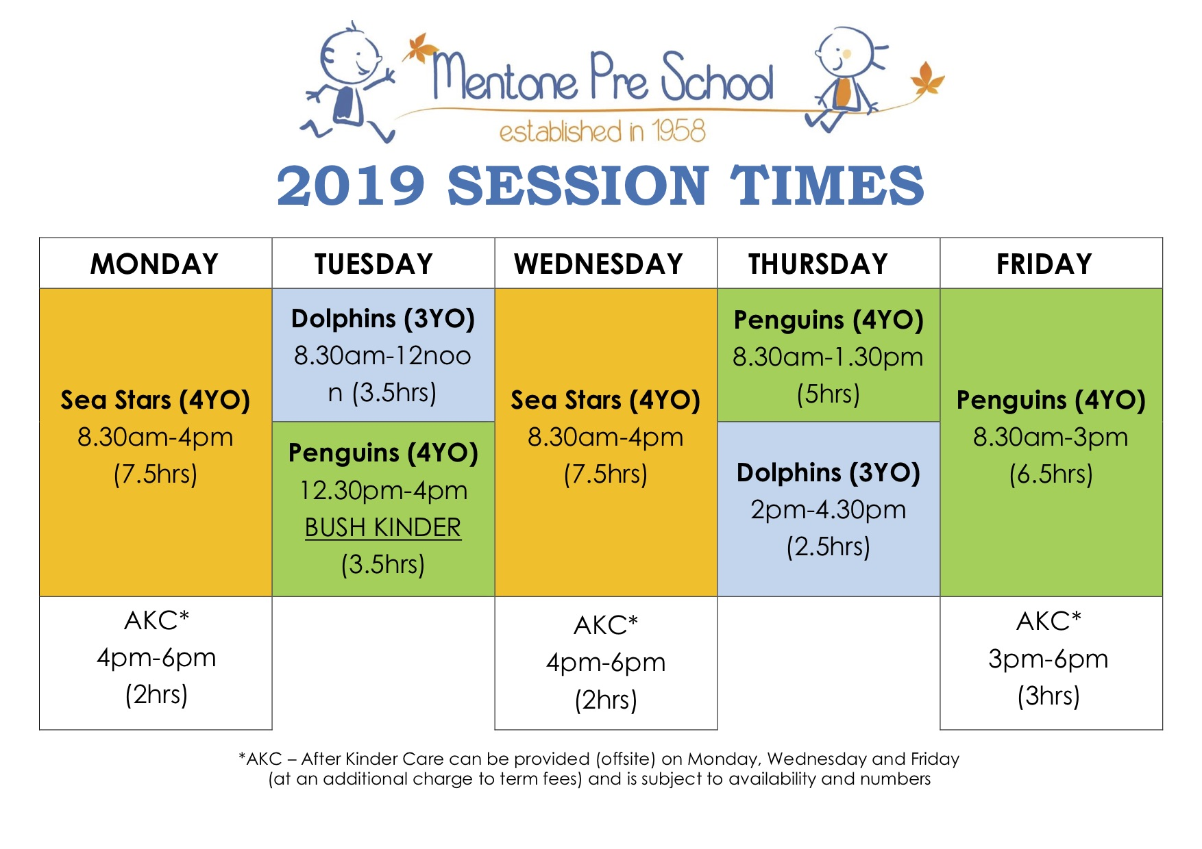 2019 Session Times